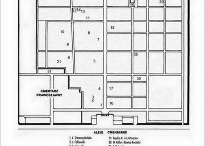 Plan Cmentarza rzymskokatolickiego (starego) z zaznaczeniem odrestaurowanych nagrobków